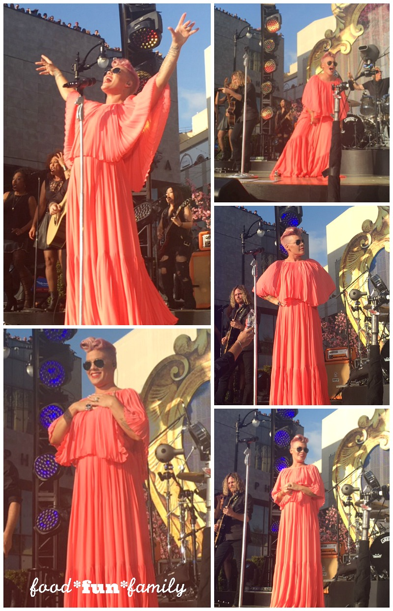 P!nk in concert on Jimmy Kimmel Live before the Alice Through the Looking Glass Red Carpet Event