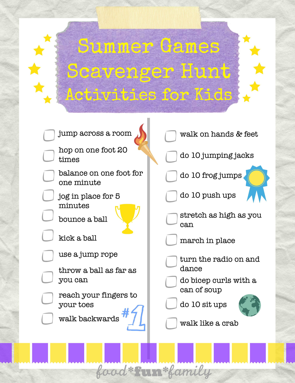 Summer Games Scavenger Hunt Activities For Kids