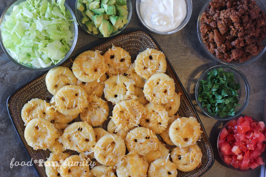 Loaded Potato Nachos (or Smiley Face Emoji Nachos) with McCain Smiles by Food Fun Family