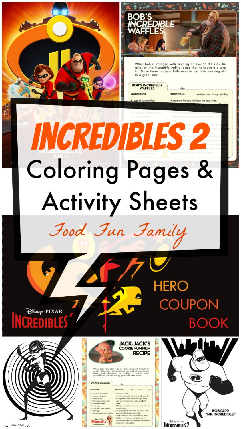 Incredibles 2 Coloring Pages and Activity Sheets from Food Fun Family