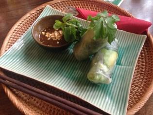 vietnamesische Sommerrollen mit Tofu und Avocado