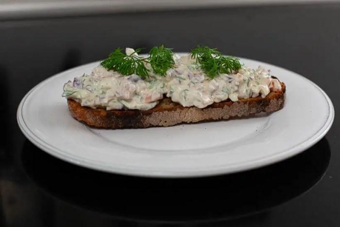 smoked salmon salad sourdough sandwich