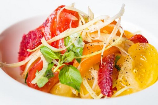 Fennel, heritage tomato and blood orange salad