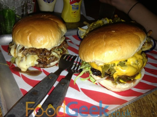 Green Chilli Cheeseburger & Mushroom Swiss Burger