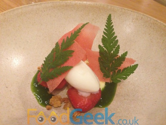 Macerated strawberries, buttermilk custard, sweet cicely, yoghurt