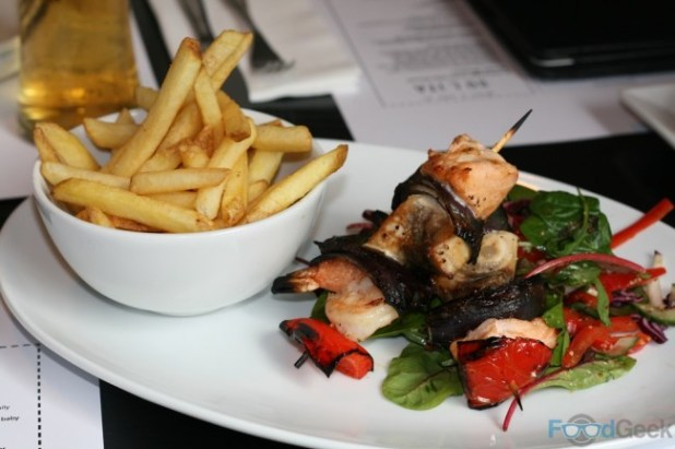 Charcoal Grilled Seafood Skewer & Chips