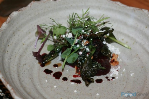 Salt baked beets, goat's cheese, walnut & kale
