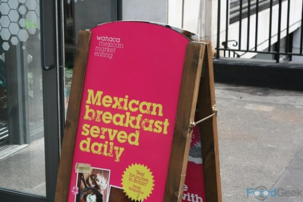 Breakfast sign, outside Wahaca