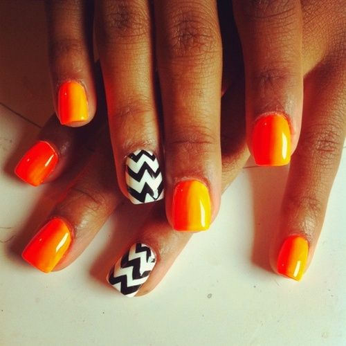 Orange Chevron Nails