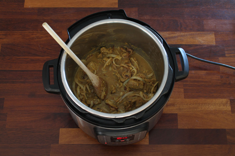 Instant Pot Pork Vindaloo Ready for Pressure Cooking