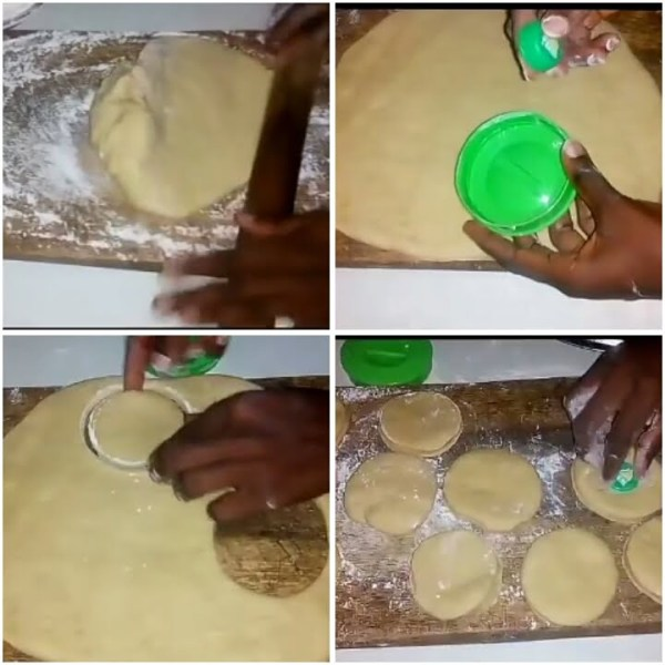 Steps in cutting dough into circles