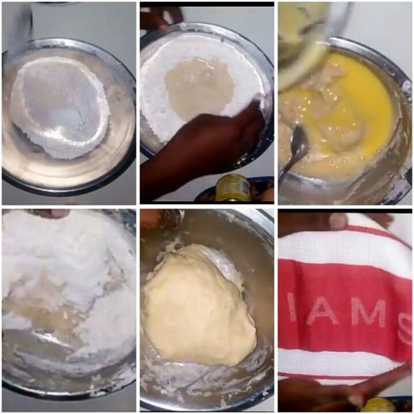 Steps in mixing doughnut batter