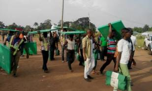 A typical image of Corp members moving materials for election in Nigeria