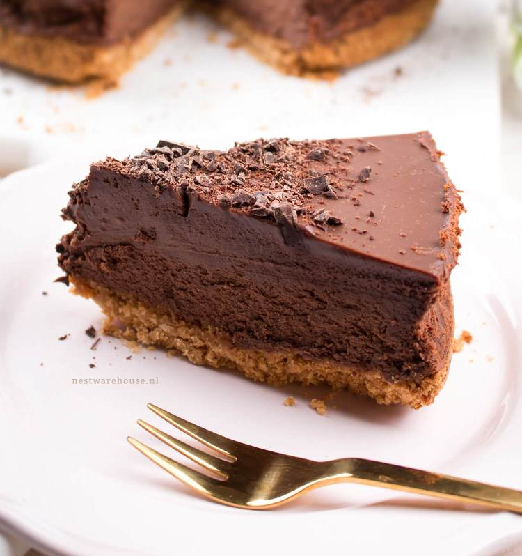 Driedubbele chocolade cheesecake (triple chocolate!) recept