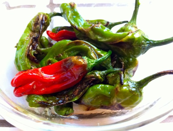 Pan roasted shishito peppers