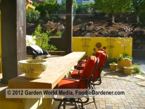 Long outdoor bar with upholstered bar stools by Foodie Gardener Shirley Bovshow