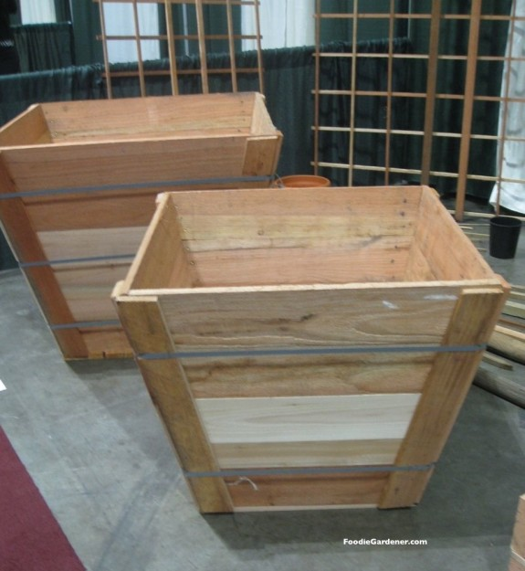 wood landscape tree boxes can be used as raised garden planters for growing vegetables.