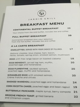 Jardin food bfast menu