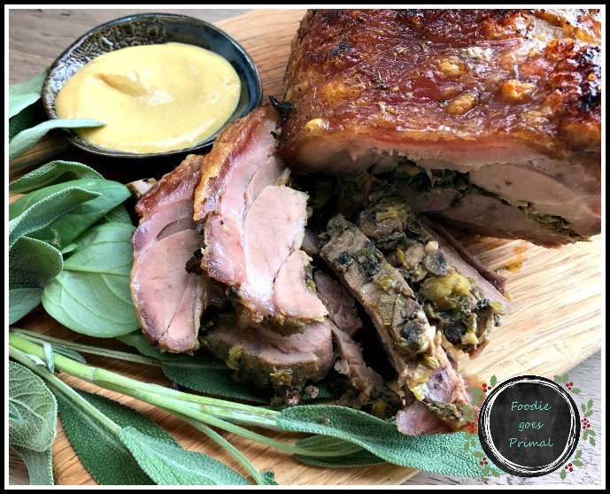 LCHF pork neck stuffed with mushrooms and sage