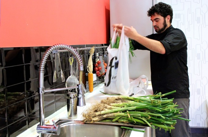 Bags of Calcots at Barcelona Cooking Class