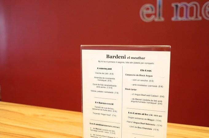 The menu Bardeni Meat Bar
