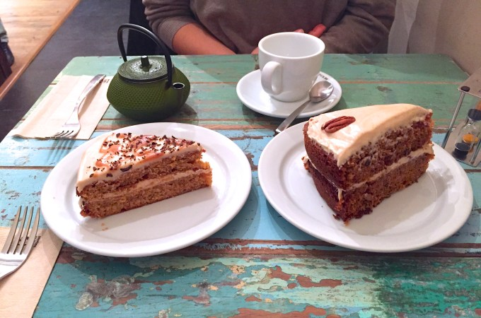Salted caramel cake and carrot cake