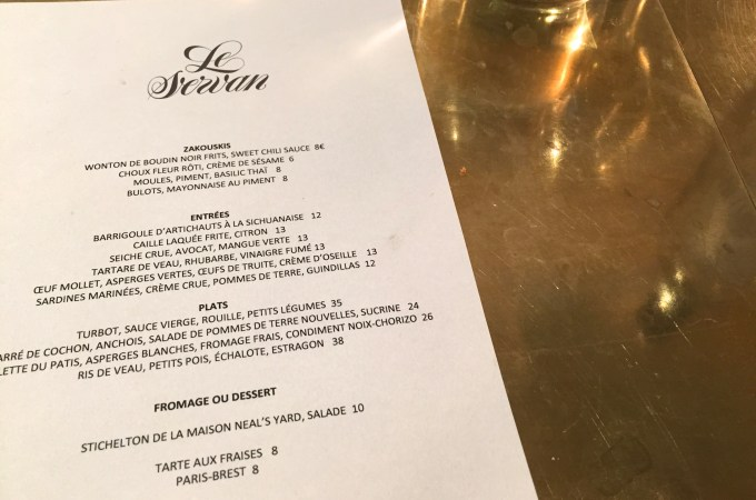 Menu at Le Servan