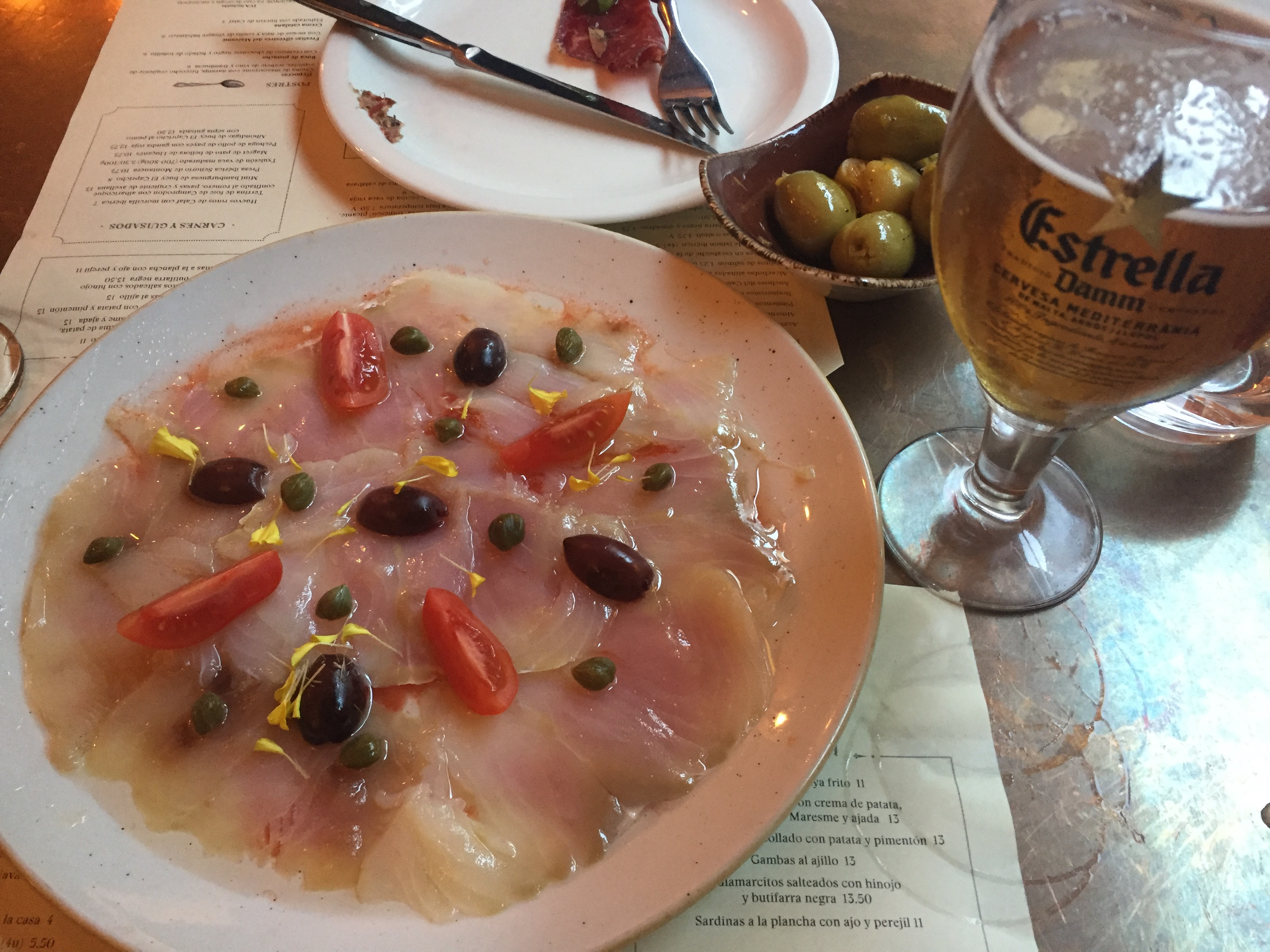 Salted cod carpaccio