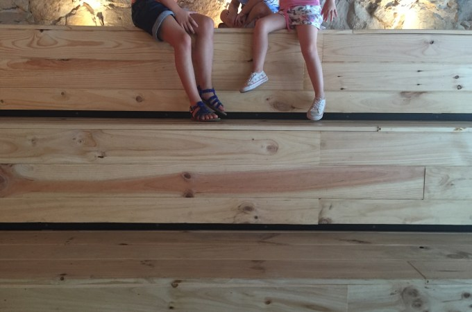 My kids taking advantage of the wooden seating
