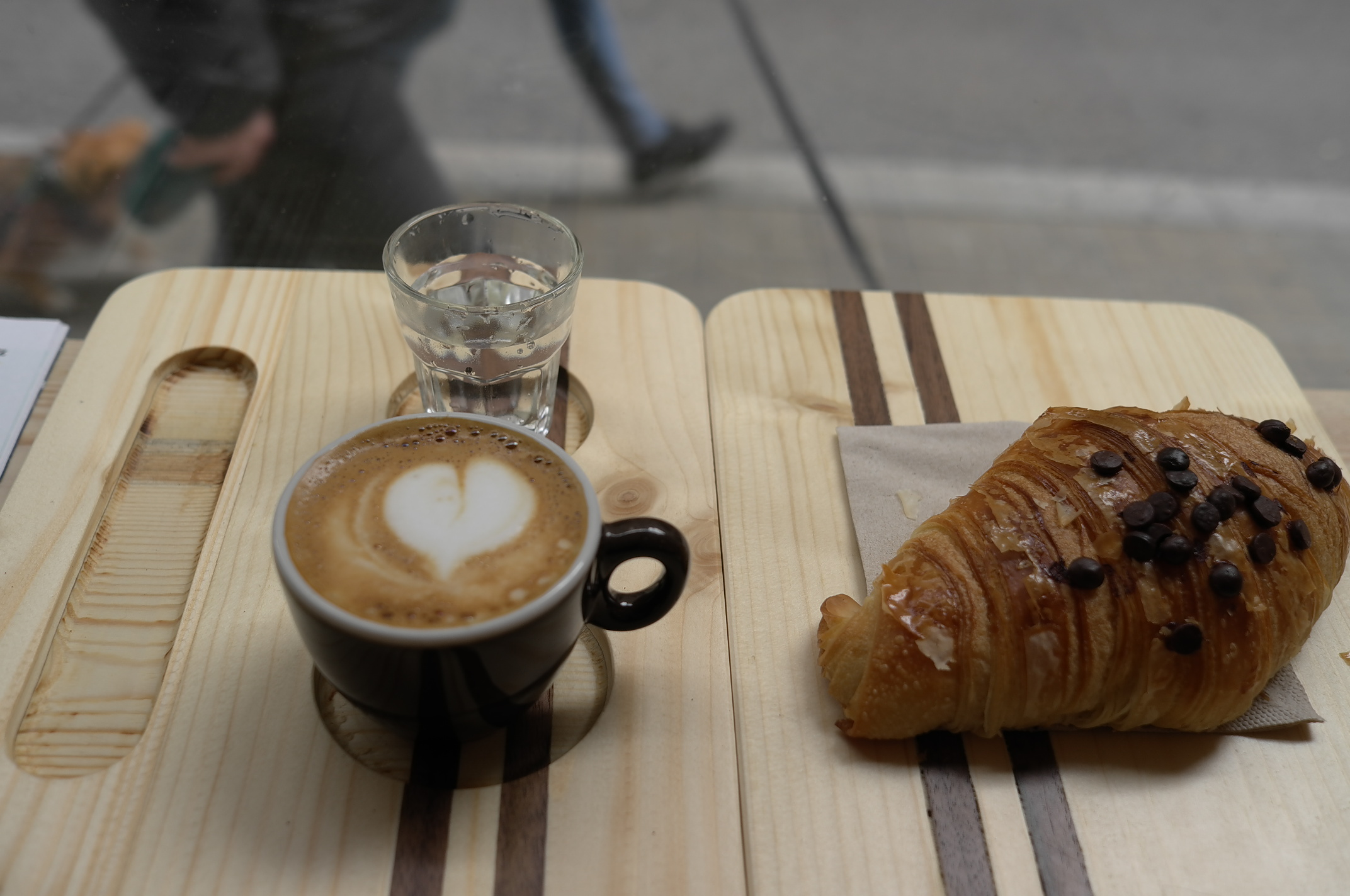 Coffee and croissant at Bermont Coffee