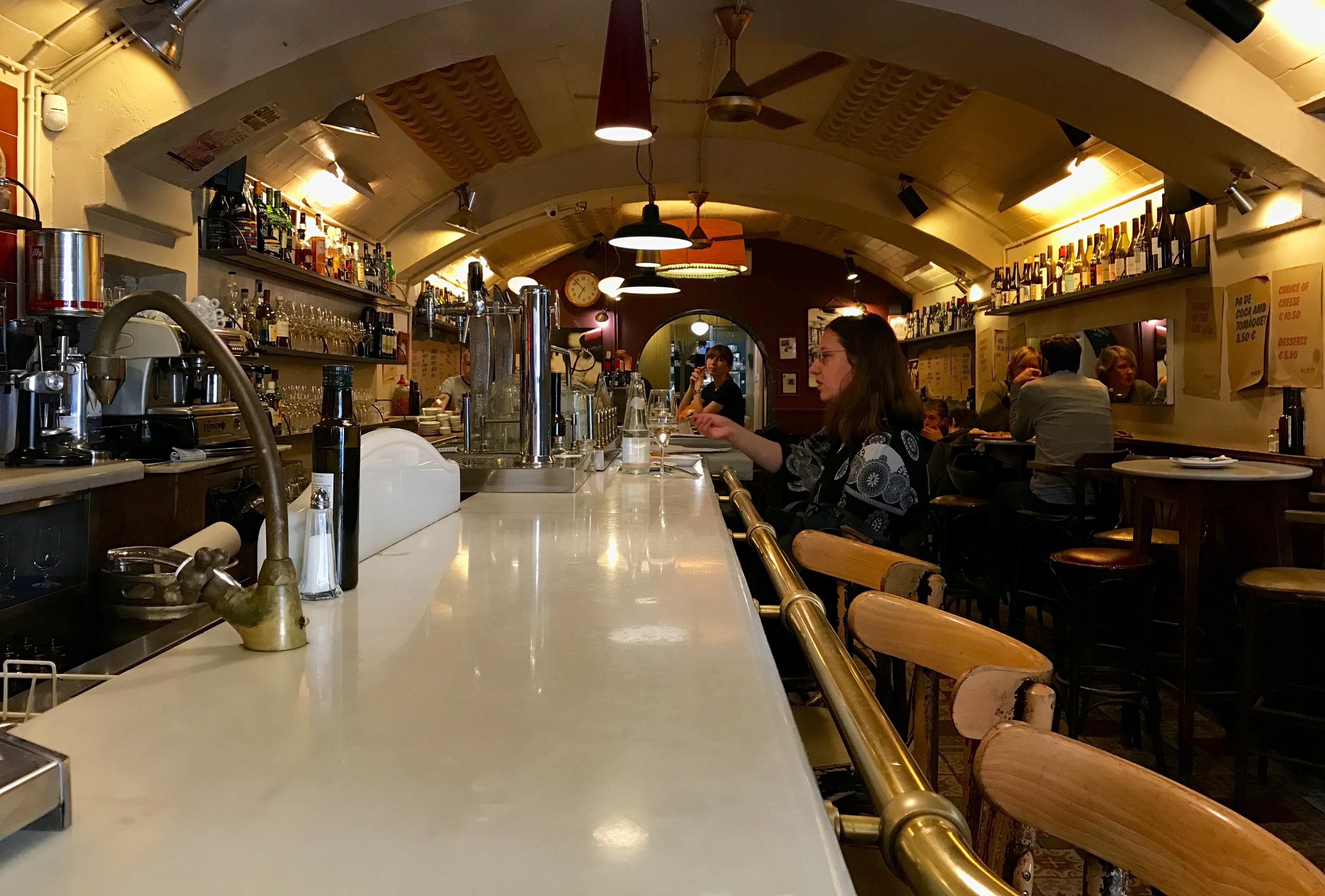 The long bar at Bar del Pla Tapas