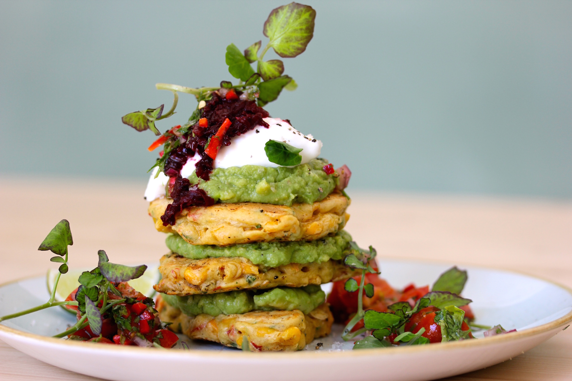 Corn pancakes with peas at Little Fern Cafe