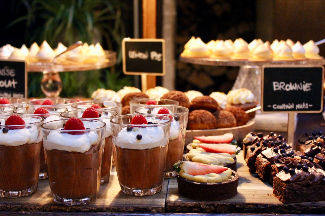 Bar filled with desserts at Cecconi's in Barcelona