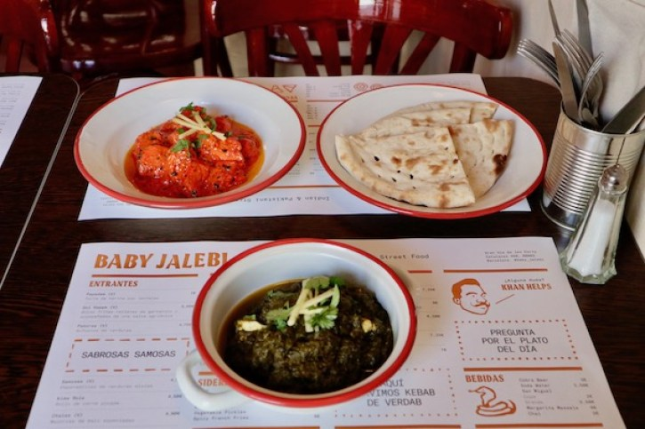 Chicken tikka masala and panner with spinach at Baby Jalebi Barcelona