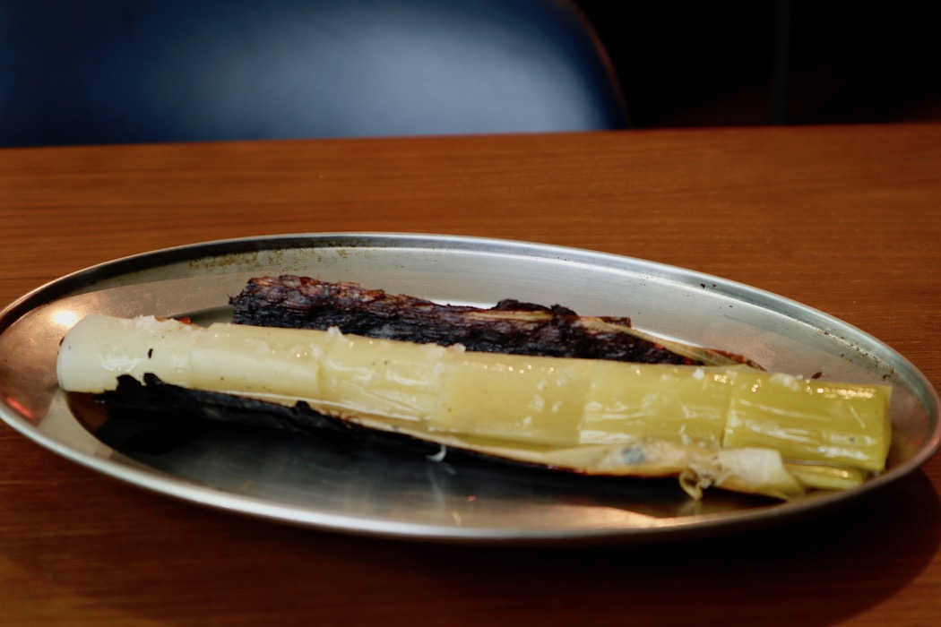 Charred leek at Mr. Porter