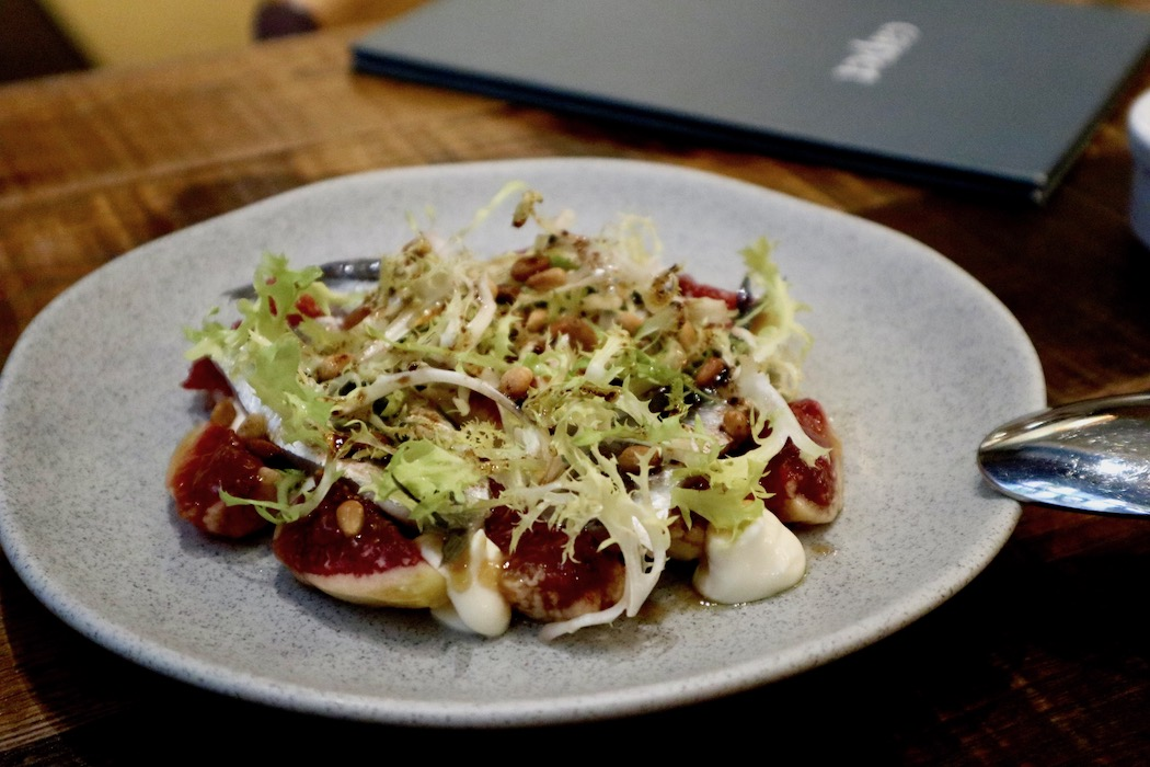 Fig salad with homemade ricotta at Capet