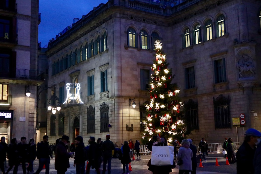 The giant Christmas tree and Christmas installation in Place Sant Juame