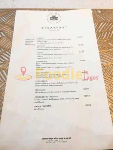 Orchid Bistro Express Breakfast Menu