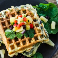 Green Waffles with Pineapple & Black Beans and Pineapple Black Bean Salsa