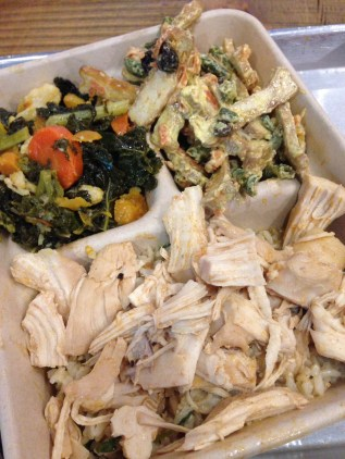 Chicken with kale and tofu salad