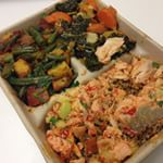 Salmon salad, kale and green beans