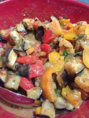 Rice with eggplant, mushrooms, peppers in peanut sauce