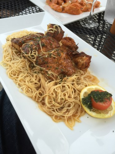 Mahi and shrimp over angel hair pasta