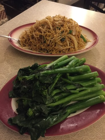 This or that? Pan fried noodles and Chinese broccoli