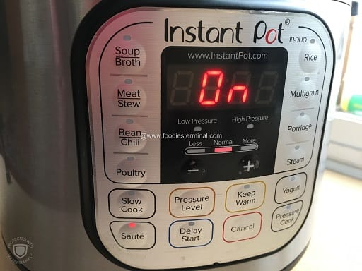 Instant pot on saute mode and normal heat