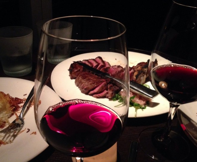 Porterhouse for two paired with a Super Tuscan