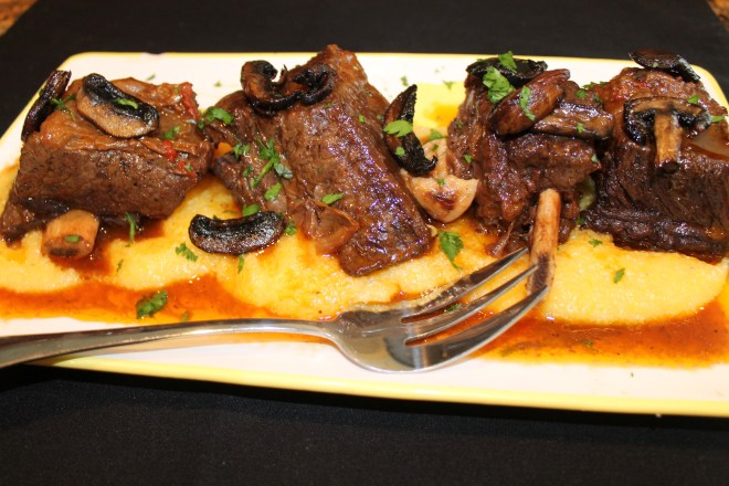 Beef Short Ribs braised in Red Wine over Polenta
