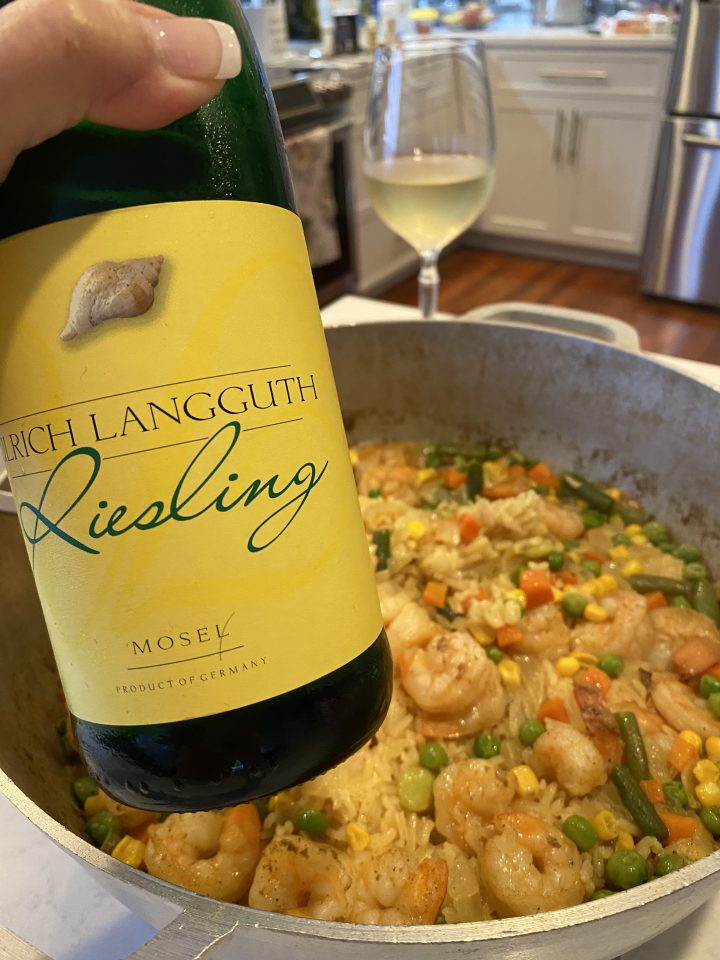 Curry Shrimp with Rice paired with Riesling