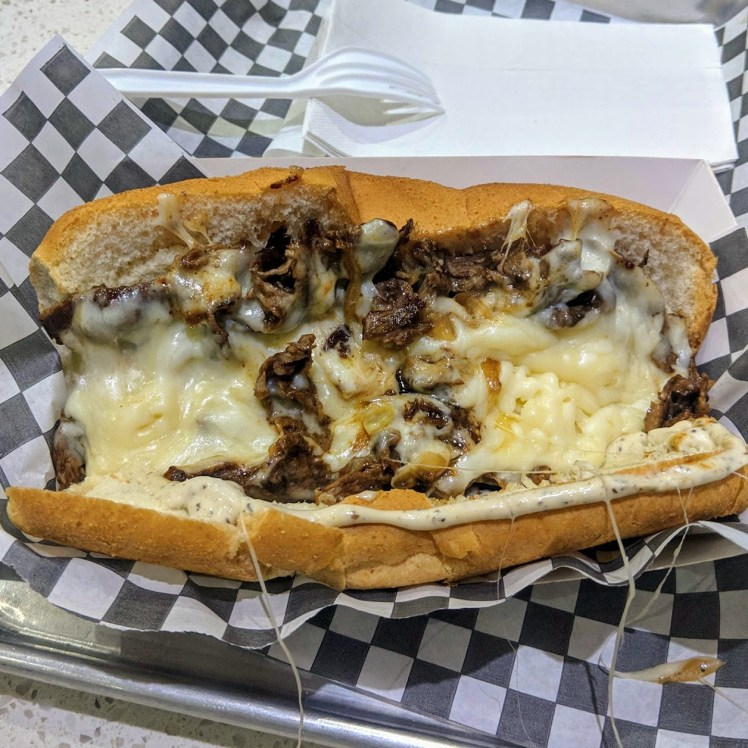 Burger Factory steak and cheese