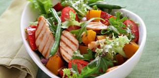 Chicken salad with roasted vegetables and mixed greens